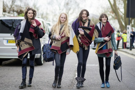 Charlotte-Wiggins-Jean-Campbell-Matilda-Lowther-and-Sam-Rollinson-wearing-Burberry-Monogram-Poncho-17th-February-2014